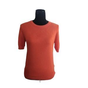 ZARA Blouse Orange Gold Buttons Fitted